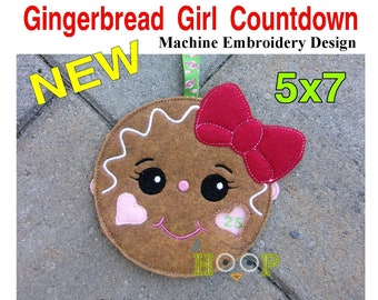ITH 5x7 Gingerbread GIRL Countdown Machine Embroidery Applique Design