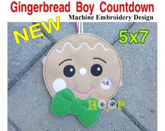 ITH 5x7 Gingerbread BOY Countdown Machine Embroidery Applique Design