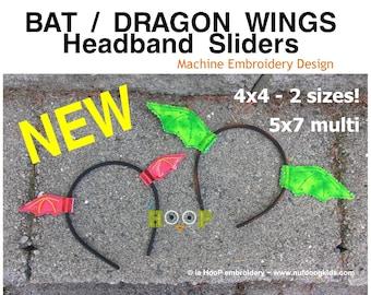 Bat Dragon Wing HEADBAND SLIDERS 4x4 5x7 ITH Machine Embroidery Applique Design