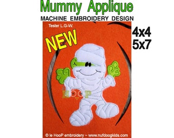 MUMMY Applique Machine Applique Embroidery design 3 sizes Halloween Monster Sneakers