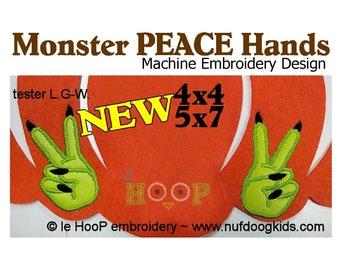 Monster PEACE Hand Applique Machine Applique Embroidery design 2 sizes Halloween