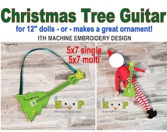 ITH Doll Christmas Tree Guitar Machine Embroidery Applique Design 5x7 6x10 multi