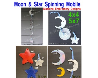 ITH Moon Star Add-On for Twirligig Spinning Mobile Machine Embroidery Applique In-The-Hoop Design DIGITAL DOWNLOAD