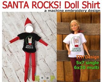 "ITH 12"" Doll SANTA ROCKS shirt sweater Machine Embroidery Applique Design 5x7 6x10 multi"