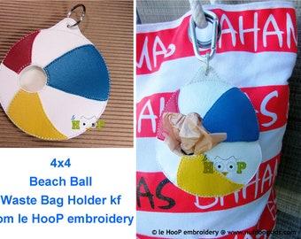 ITH 4x4 Beach Ball Waste Bag Holder Dispenser Machine Embroidery Applique Design