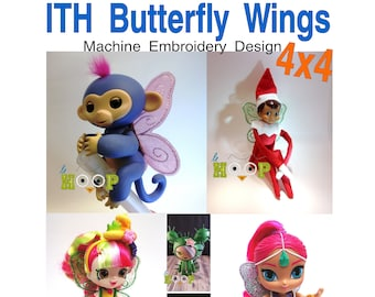 Finger Toy Doll BUTTERFLY WINGS Machine Applique Embroidery design ITH In The Hoop 4x4 Elf Fairy Angel