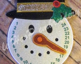 SNOWMAN COUNTDOWN Machine Embroidery In Hoop Design 5x7 6x10 7x12 8x12 12x17 ITH  clock Christmas