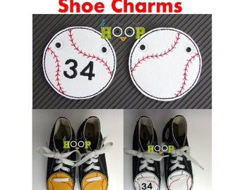 BASEBALL SOFTBALL 04 Shoe Charms Wings Tags Machine Applique Embroidery design ITH In The Hoop Sport shoelace