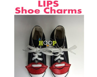 LIPS Shoe Charms Wings Tags Machine Applique Embroidery design ITH In The Hoop love valentine halloween shoelace