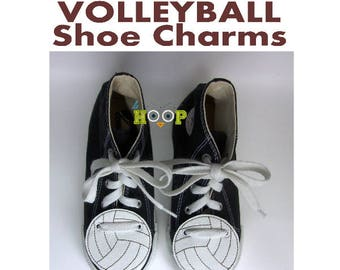 VOLLEYBALL 03 Shoe Charms Wings Tags Machine Applique Embroidery design ITH In The Hoop Sport shoelace