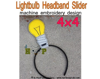 Lightbulb Headband Slider Machine Applique Embroidery design ITH In The Hoop cosplay goth halloween