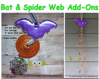 4x4 5x7 ITH Halloween Bat and Spider Web Add-On for Twirligig Spinning Mobile Machine Embroidery Applique In-The-Hoop Design