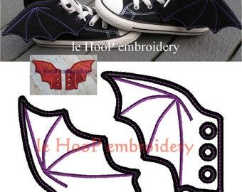 4x4 5x7 BAT DRAGON Shoe Wings Machine Embroidery In-The-Hoop Design Goth Costume superhero cosplay Steampunk Fantasy Batman shoelace charm