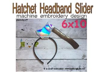 Hatchet Headband Slider Machine Applique Embroidery design ITH In The Hoop cosplay goth halloween