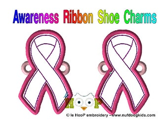 AWARENESS RIBBON Shoe Charms Wings Tags Machine Applique Embroidery design ITH In The Hoop Autism Cancer Lupus Alzheimers shoelace charm