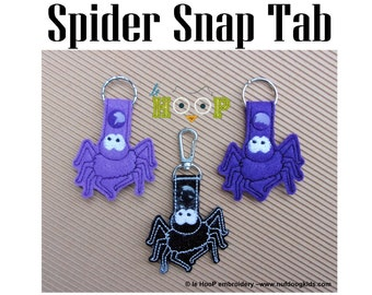 Spider Snap Tab Machine Applique Embroidery design 4x4 5x7 ITH In The Hoop Key Fob halloween