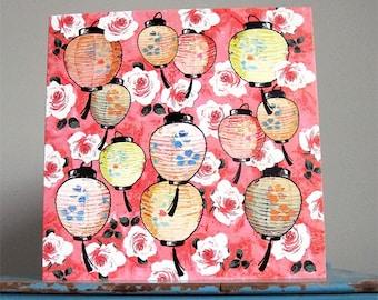 Pink Roses and Lanterns Card