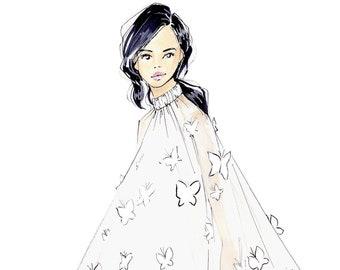 Butterfly Effect-Fashion Illustration-Print-Illustration-Brooke Hagel-Brooklit Illustration-Butterflies Fashion Sketch
