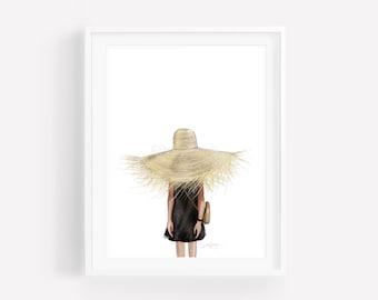 Brittany-Fashion Illustration-Brooke Hagel-Brooklit-Beach Hat-Beach Print
