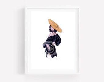 Krystal-Fashion Illustration-Print-Brooke Hagel-Brooklit-Fashion Sketch-French Illustration-French Hat-Fashion Illustration Print