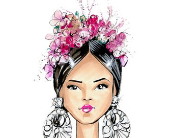 Frida-Frida Kahlo-Fashion Illustration-Brooklit-Brooke Hagel-Naeem Khan-Headdress-floral headdress-flower crown-artist-Mexican