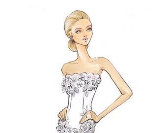 Harper-Bride Illustration-Bridal Sketch-Bride Art-Illustration-Brooke Hagel-Brooklit-Bridal Fashion Illustration
