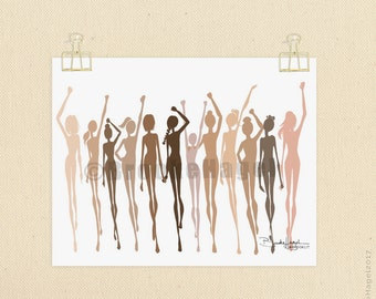 Women's March Inspired Illustration by Brooke Hagel-Stronger Together-The Future Is Female-Art Print-Sketch-2017