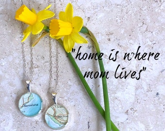 Home is where Mom Lives City Map Necklace  Sterling Silver Chain Mother's Day