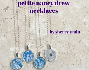 Petite Nancy Drew Necklace 3 Styles Book End Papers Sterling Silver Chain