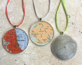 Map Ornament Custom City 1  50mm  Holiday or Housewarming Gift for Travelers or Christmas Gift Tree Trimmer Large Size  for Mom or Grandmom