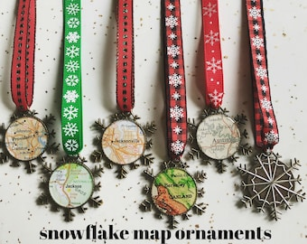One Snowflake Map Ornament Your City Snow Flake Ribbon Custom for Christmas Hostess Gift Silver or Bronze