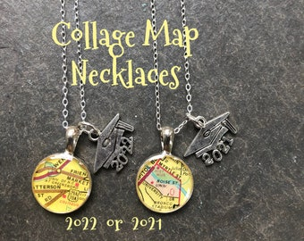 College Map Necklace  Graduation Gift Petite 2022 or 2021 Mortar Cap Included Small Size