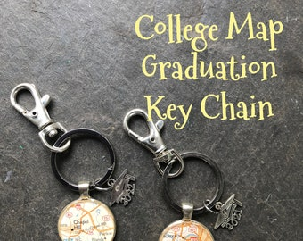 College  or City Map Keychain Ring  Choose the University or  School Graduation Gift for Women or Men,  2022 or 2021 mortar cap charm