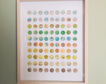 90 Original Map Art Circles / Vintage Topography / Paper + Baltic Birch Collage / Surveying the Earth/ Sherry Truitt / Circle Dot Maps