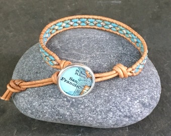 San Francisco Leather Wrap Bracelet Beaded  Vintage Map Button California Vintage Atlas Last One ON SALE