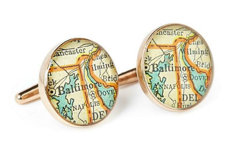Baltimore  Bronze Map Cufflinks Vintage Atlas Gift for Boss or Dad