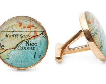 French Riviera Cufflinks  Bronze Antique Map Vintage Globe Cuff Links  Monte Carlo Nice Cannes