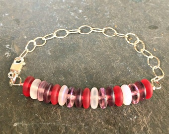 Layering Bracelet Sterling Silver and Glass Etched Abacus Beads Gift for Her Aubergine and Ruby Red