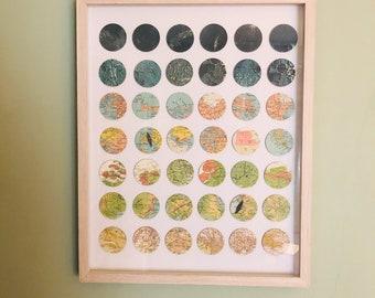 Original Map Art by Sherry Truitt / 42 Map Circles / Vintage Topography + Lunar Maps / Paper + Baltic Birch Collage /Traversing the Terrain