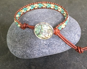 Seattle Leather Wrap Bracelet Beaded  Vintage Map Button Washington Vintage Atlas Last One  ON SALE