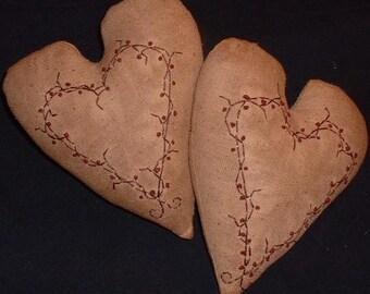 Primitive Stitchery Heart Pillow PATTERN Berry Wreath
