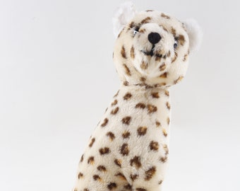 Gund, 1970s, Leopard Plush, Stuffed Animal, Snow Leopard, White, Dotted, Soft, Doll, Toy, Animal, Children, Collection, Vintage, ~ 170721