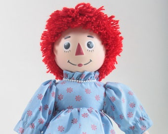 dc4be63b52b Vintage Raggedy Ann Doll Ceramic Limbs Blue Dress Red Flowers Red Yarn Hair  Soft Body Black Shoes Plastic Head Painted Face ~ 170313