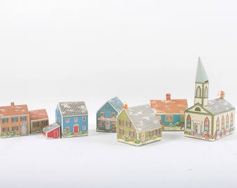 Paper Buildings Set Houses Church Store Village Toys Children Vintage Nostalgia 170106
