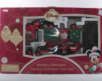 disney christmas train set battery locomotive tracks holiday gift vintage toy red green in a box the pink room 170213