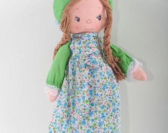 f673368c52286e Holly Hobbie Vintage Doll in fiore vestito verde balza Bonnet ragazza Brown  capelli trecce bambola di pezza Country Girl ~ The Pink Room ~ 160916