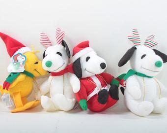 wiltons snoopy christmas plush toys santa reindeer woodstock yellow bird red hat soft holiday stuffed animals 161003 - Christmas Plush Toys