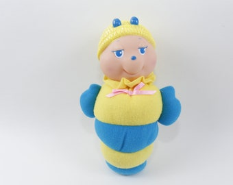 Battery Operated Gloworm Plush Doll Glow Butterfly Vtg 1984 Glowing Toy Soma Working Electronic, Battery & Wind-up