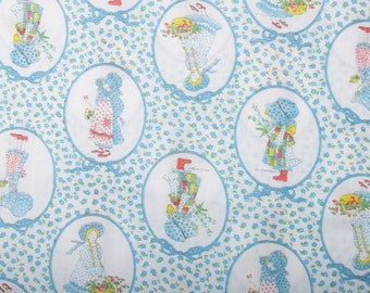 Vintage Holly Hobbie Blue Fabric Material Girls Flowers Pictures Fabric 44x62 Children Collection, 70s 80s ~ 170831