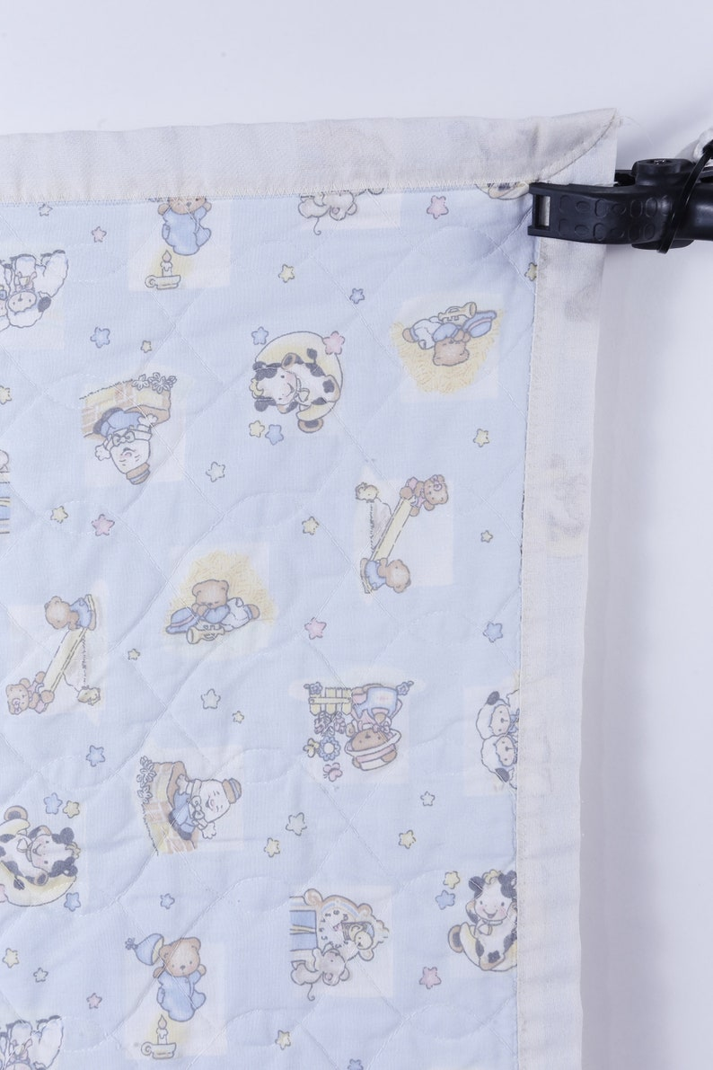 Vintage ~ 161209 Nursery Rhymes Cow Jump over moon Baby Quilt Blue Baby Blanket Coverlet Bears Animals Decor Design